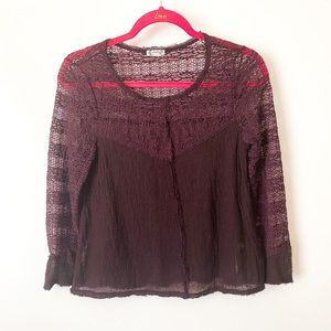 Free People Lace Long Sleeve Red Blouse Size XS